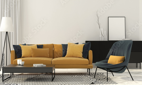Fotodibond 3D Stylowy salon z żółtą sofą