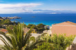 look over sea and shore in Santa Teresa Gallura town in Sardinia Italy, on the horizon Corsica island in France