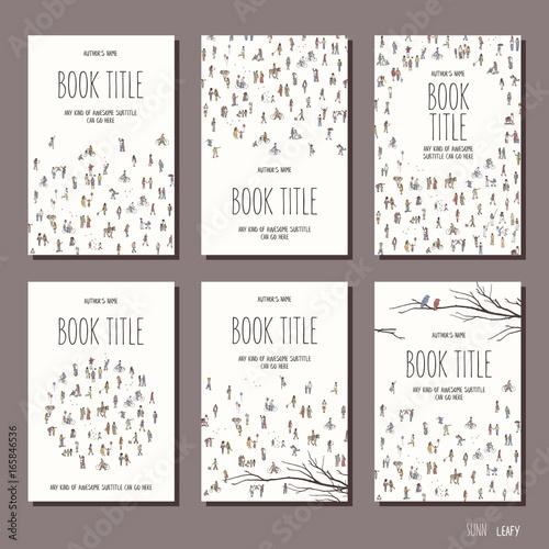 Fotografia Tiny people - set of six hand drawn book cover templates