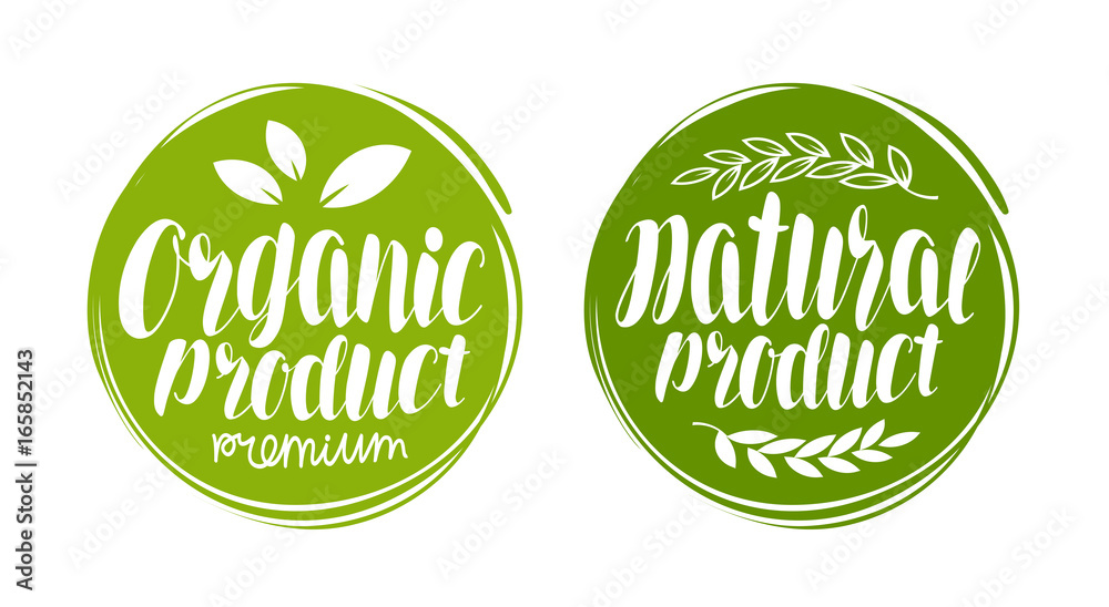 Fototapeta Organic, natural product logo or label. Element for design menu restaurant or cafe. Handwritten lettering, calligraphy vector illustration