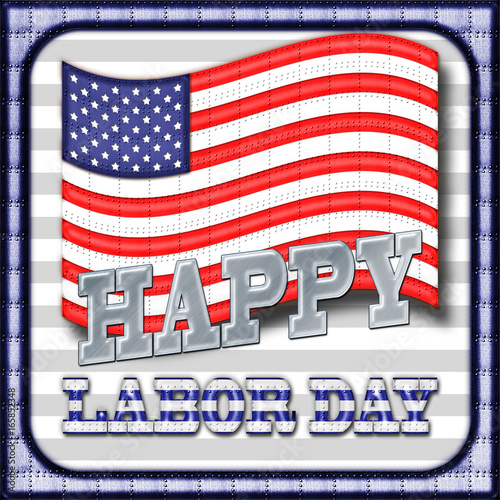 Happy Labor Day Heavy Metal American Flag Metal Text And Metal