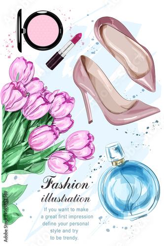 Beautiful tulip flowers with cute parfum, stylish shoes and cosmetics. Hand drawn fashion set. Sketch. Vector illustration. Wall mural