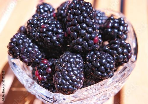 Fotografia, Obraz  The fresh blackberry in the crochet