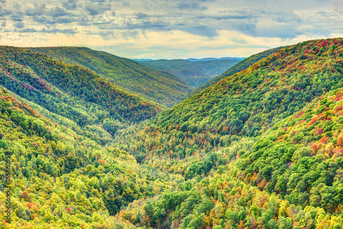 Photo Colorful Allegheny mountains in autumn with foliage at Lindy Point overlook in W
