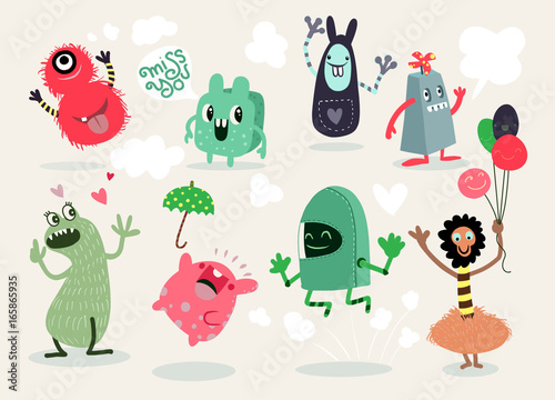 Fotografía  Cute Cartoon Monsters,Vector cute monsters set collection isolated