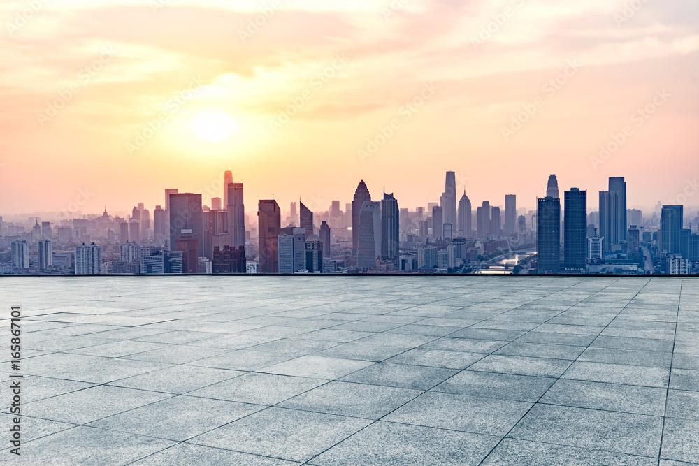 Fototapety, obrazy: empty square front of tianjin city skyline,china.