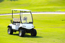 White Golf Cart In A Golf Course In The Thailand