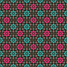 Seamless Pattern With Flowers And Leaves On Brown Background