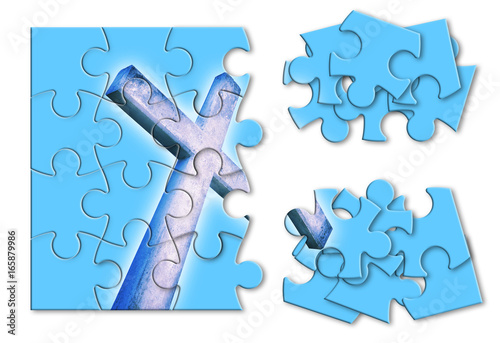 Obraz na plátne  Rebuild or losing our faith - Christian cross concept image in jigsaw puzzle sha