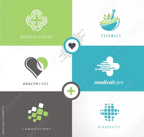 Medical and health care collection of creative logos, symbols and ...