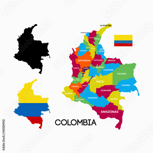 Fototapeta colombia map with city name and flag designs vector illustration