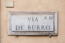 Street Name Sign In Rome