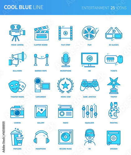 Modern Thin Line Icons Set Of Entertainment Premium Quality Outline