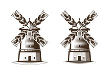 Mill, Windmill Icon. Agriculture, Agribusiness, Bakery Logo Or Label