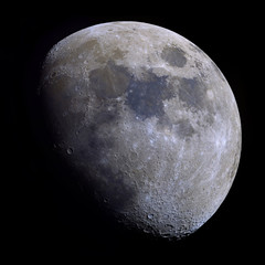 Very high detail Gibbous Moon shot at 2.700mm focal length. 30 panel mosaic with increased saturation to highlight the mineral composition of the moon's surface.