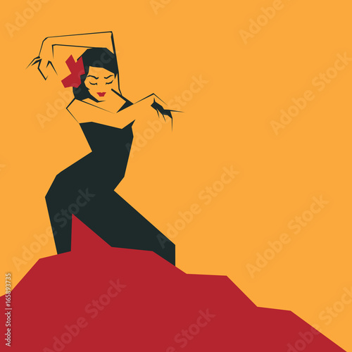 Flamenco Dancer in expressive impressive pose Wallpaper Mural