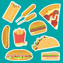 Bright Vector Fastfood Sticker...