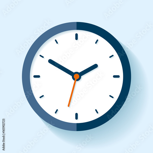 Clock icon in flat style, timer on blue background Wallpaper Mural