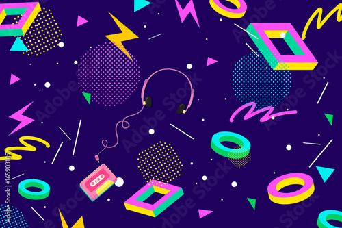 Foto-Tapete - Retro Eighties Abstract Background Pattern (von denisxizer)
