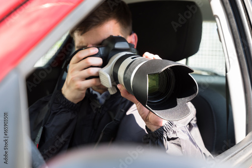 Fotografie, Obraz  Private Detective Photographing With Slr Camera