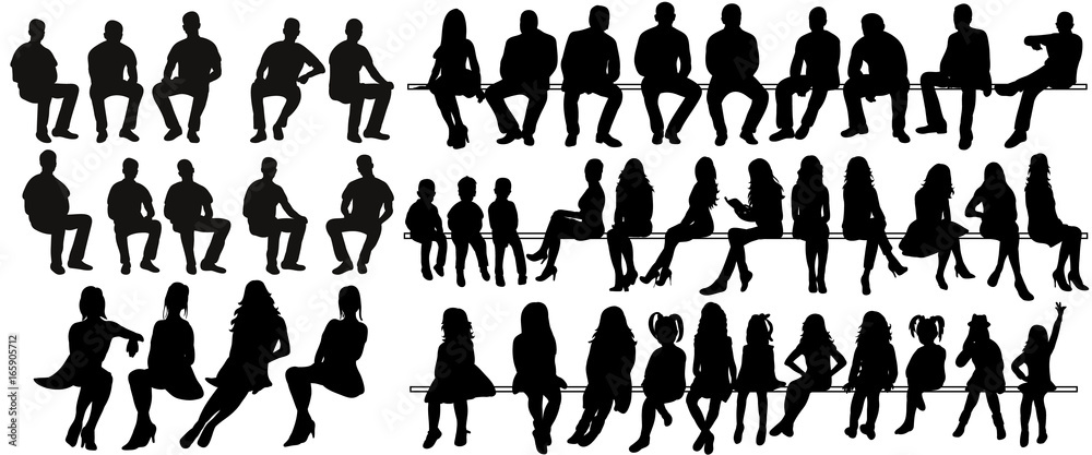 Fototapety, obrazy: Vector, isolated silhouette of sitting people, large collection, sitting man and girl