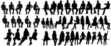 Vector, Isolated Silhouette Of Sitting People, Large Collection, Sitting Man And Girl