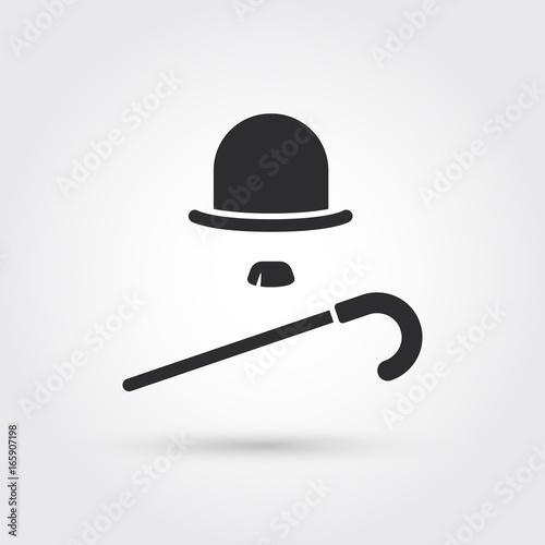 Fotografie, Tablou  retro hat, cane and moustache icon
