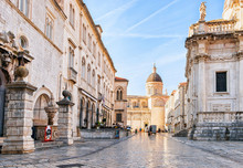 People At Dubrovnik Cathedral In Old City Dubrovnik