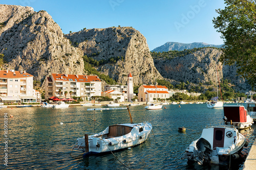 Fotobehang Liguria Sailing Boats and harbor of Adriatic Sea in Omis Croatia