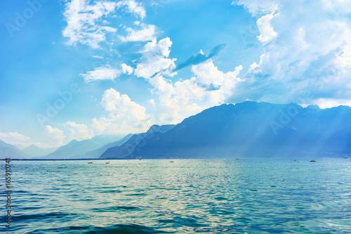 Nature of Geneva Lake in Vevey Swiss Riviera Wallpaper Mural