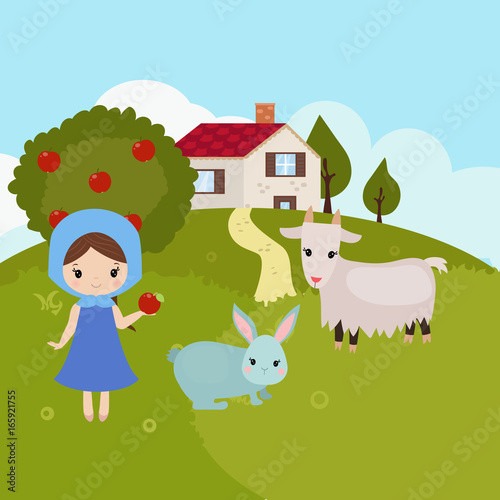 Cartoon farm landscape