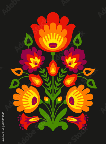 Fotografija  Polish folk inspired flowers on black background