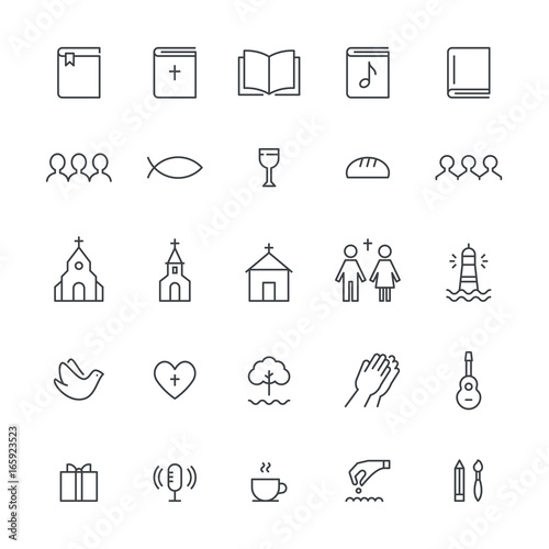 Church and Christian Community Flat Outline Icons. Vector Set Wall mural