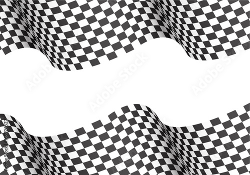 Fotografie, Obraz  Checkered wave on white blank space for text place design for sport race championship winner background vector illustration