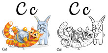 Cat. Vector Alphabet Letter C,...