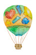 A large colorful air balloon with patches with a basket painted in watercolor