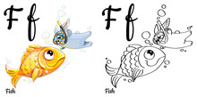 Fish. Vector Alphabet Letter F, Coloring Page