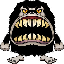 Angry Cartoon Hairy Monster