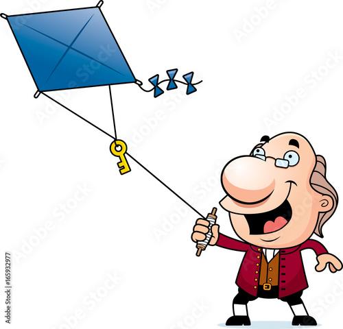 Photo Cartoon Ben Franklin Kite