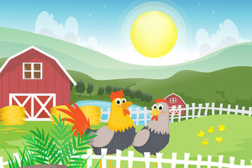 Fototapeta Do przedszkola Illustration of a rooster and a hen in the farm