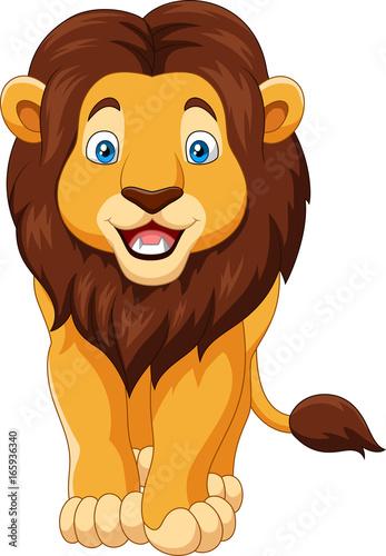 Foto op Aluminium Zoo Cartoon happy lion isolated on white background