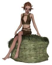 Cute Forest Elf Or Faun, Sitting On A Grassy Rock - Fantasy Illustration