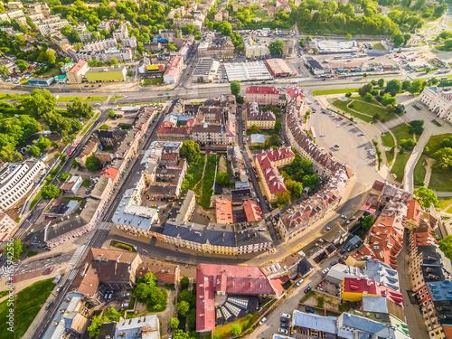 In de dag Beijing Lublin - stare miasto z lotu ptaka. Kamienice i zabudowania w okolicy zamku Lubelskiego.