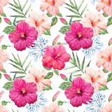 Fototapeta Sypialnia - Watercolor tropical hibiscus vector pattern
