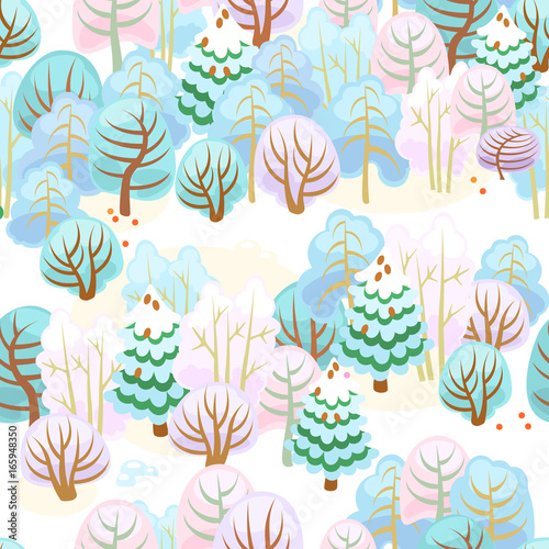 Cotton fabric Forest in winter with snow / Seamless pattern of fairy forest with snow