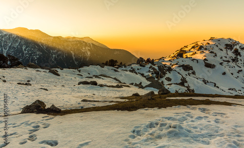 Beautiful sunrise at Triund hill top at Mcleodganj, Dharamsala, Himachal pradesh, India. One of the most beautiful trekking places in Dharamshala dharamshalatriundbackgroundbackpackingbeautifulcampin