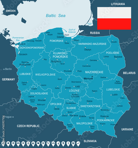 Cuadros en Lienzo  Poland - map and flag illustration