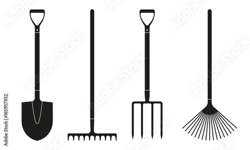 Fototapeta Shovel or spade, rake and pitchfork icons isolated on white background