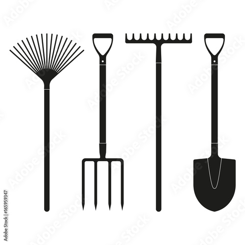 Fotomural Shovel or spade, rake and pitchfork icons isolated on white background