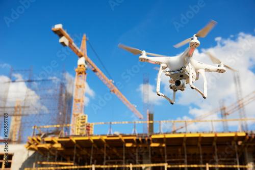 Obraz na plátně Drone over construction site